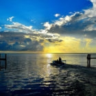 South Andros Sunset with Skiff