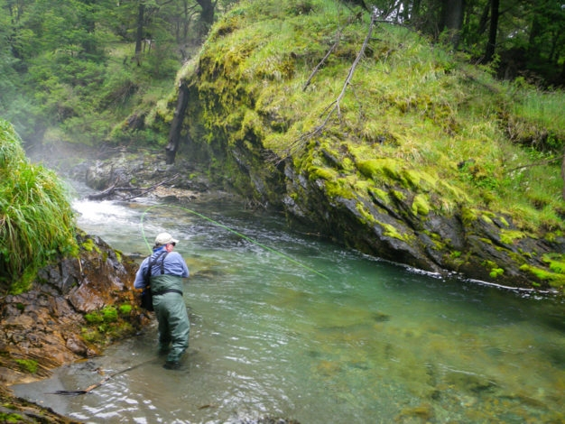 Chubut province small stream fly fishing for trout