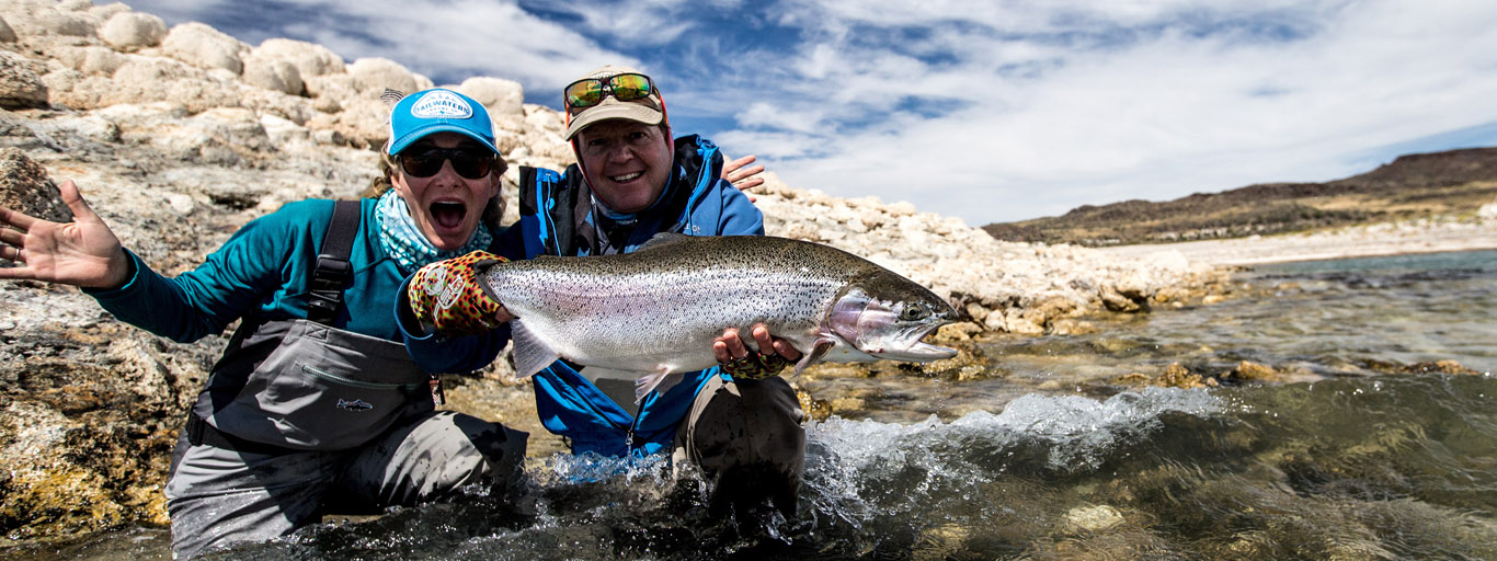 Women's fly fishing on Jurassic Lake