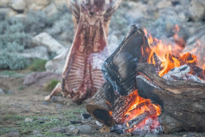 Asado de cordero on Jurassic Lake