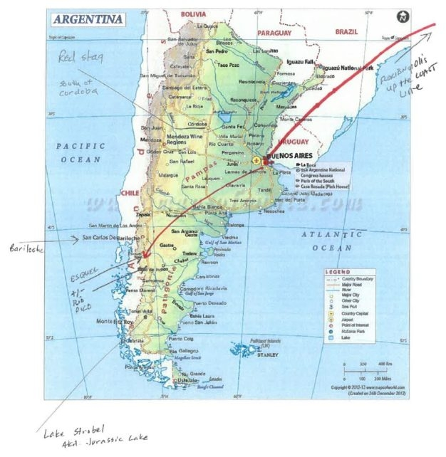 Map fly fishing Argentina