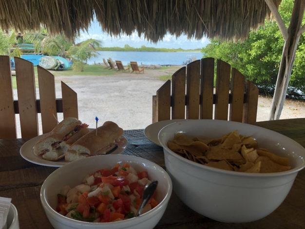Food at Cayo Frances Flats Bum Belize