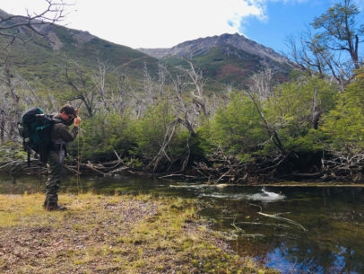 Hike in brook trout fishing Argentina